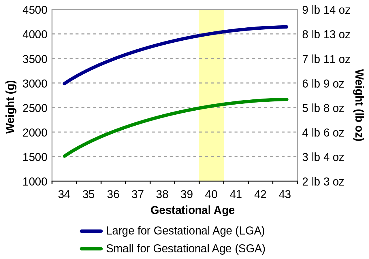 Chart showing birth weights for gestational ages