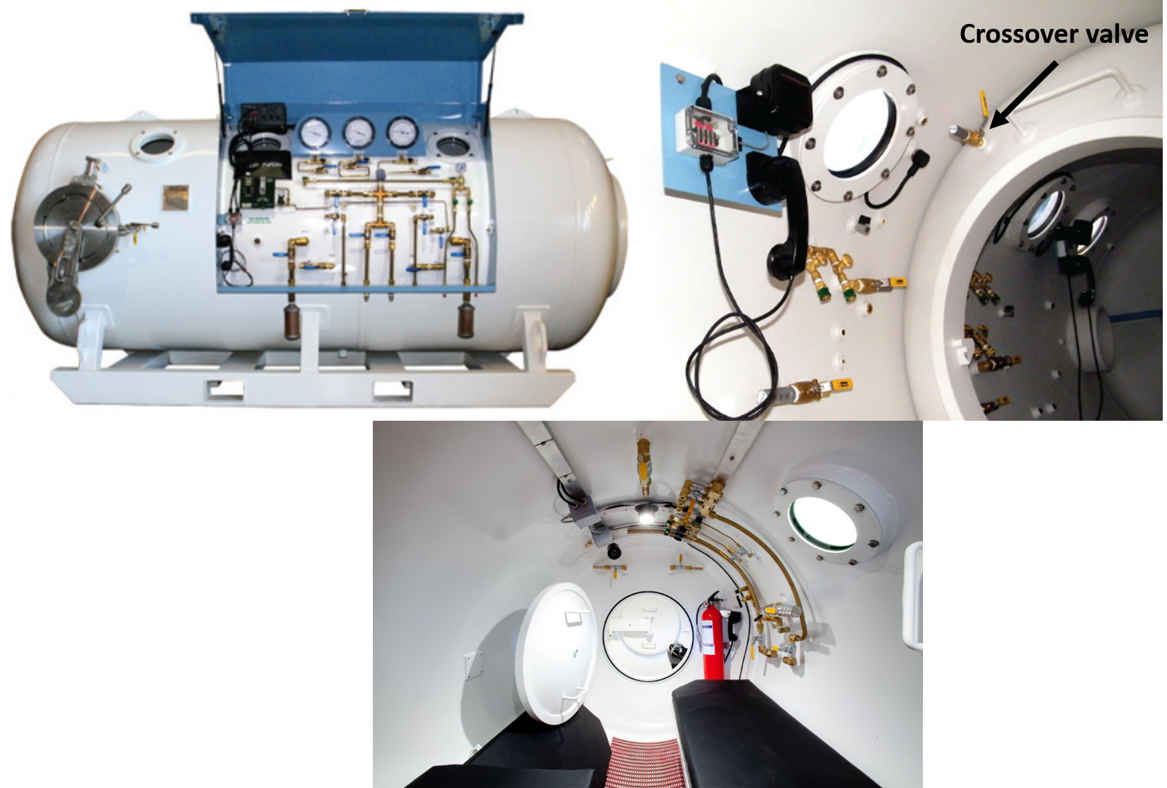 Upper left: deck decompression chamber (DDC) used in commercial diving. Upper right: outer lock of DDC looking into the inner lock, crossover valve pictured. Lower: inner lock of DDC looking out.