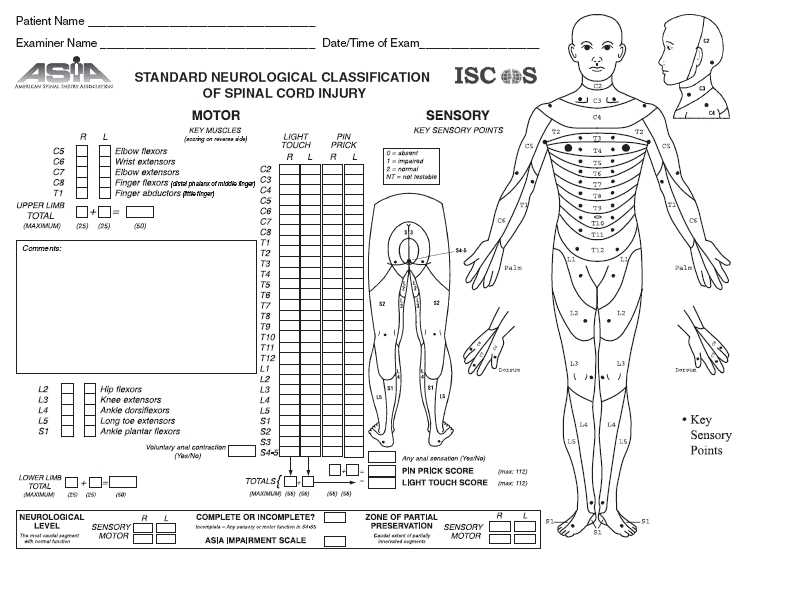 ASIA scoring sheet for determining level and extent of spinal cord injury. Useful for physical examination and assessment in all patients with spinal cord injury.