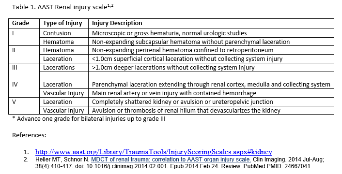 AAST Renal Injury Scale